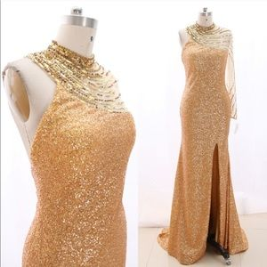Gold Sequin One-Sleeved Open Shoulder Fitted Gown